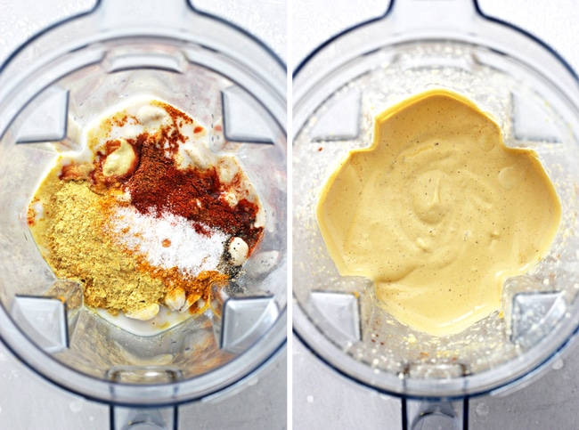 Ingredients in a blender and then fully blended.