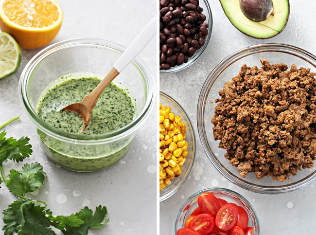 Dressing and salad ingredients in small bowls.