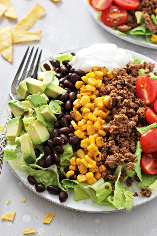 Healthy Taco Salad on a white plate.