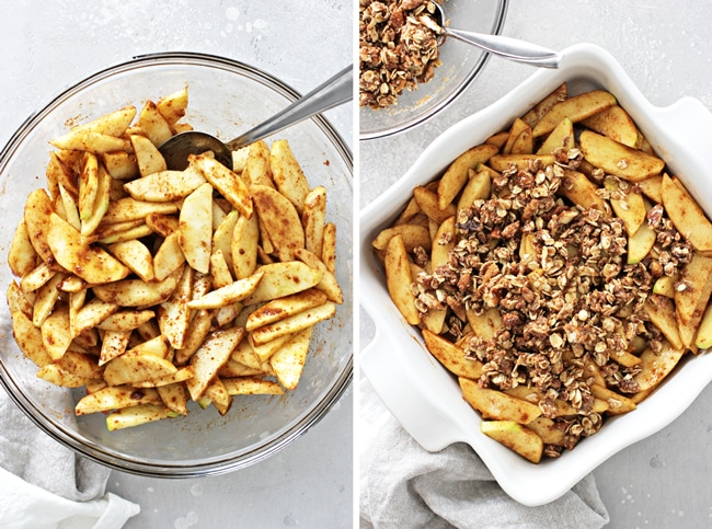 Sliced apples in a bowl and then in a casserole dish.