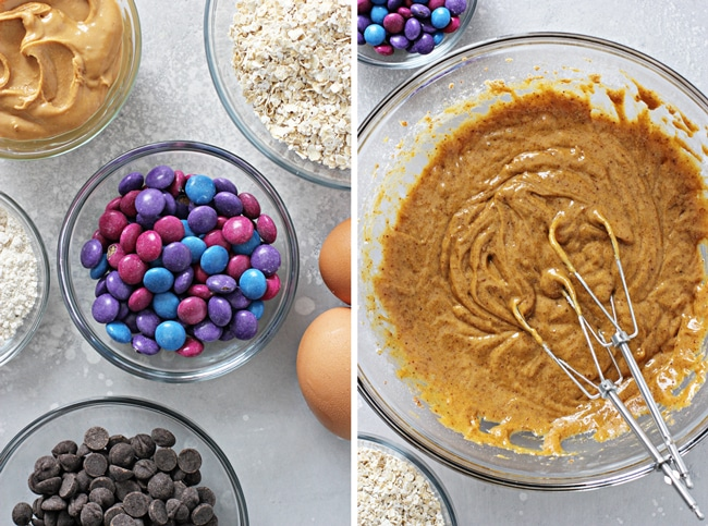 Peanut butter, oats and chocolate candies in small bowls.