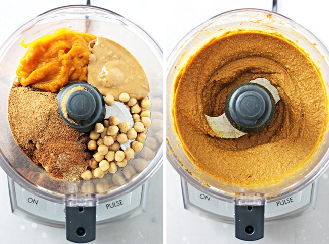 Ingredients in a food processor before and after blending.