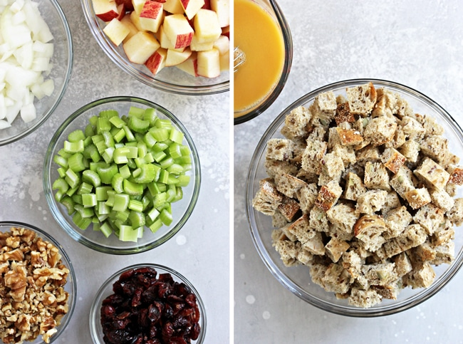 Chopped veggies, fruit & bread in small bowls.
