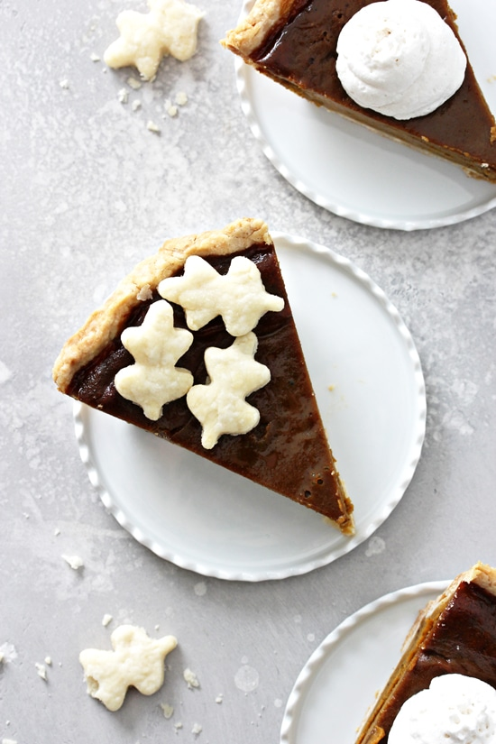 Three slices of Coconut Milk Pumpkin Pie on white plates.