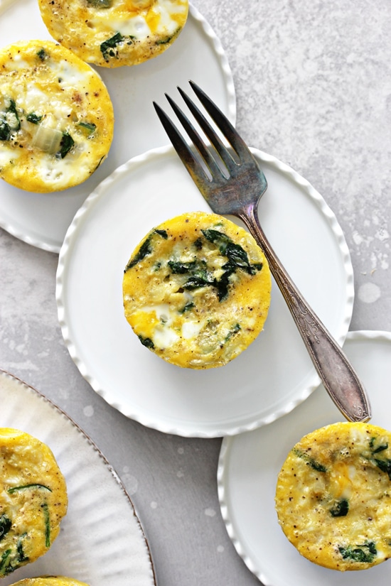 Several Dairy Free Egg Cups on small white plates.
