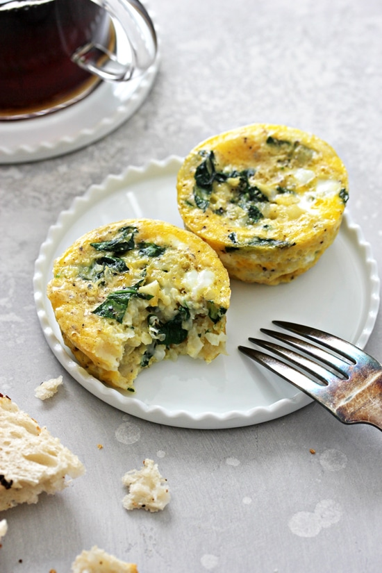 Two Dairy Free Egg Bites on a small plate with a fork.