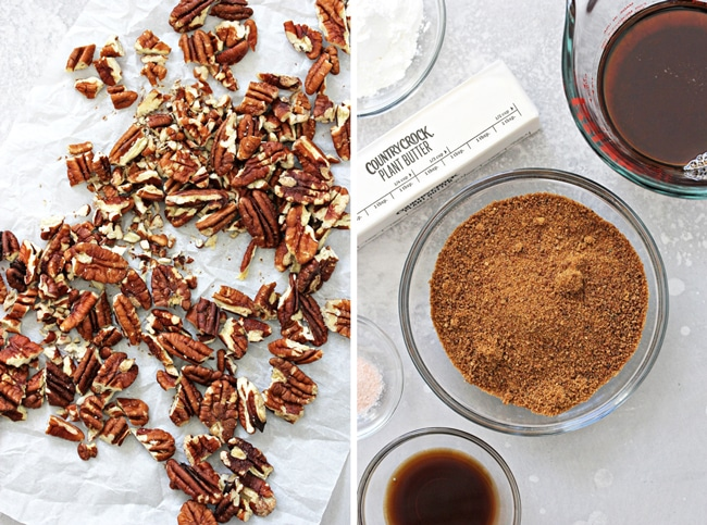 Raw pecans and pie ingredients in small bowls.