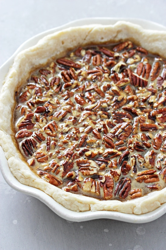 An unbaked Egg Free Pecan Pie.