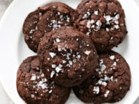 A white plate filled with Dairy Free Chocolate Cookies.