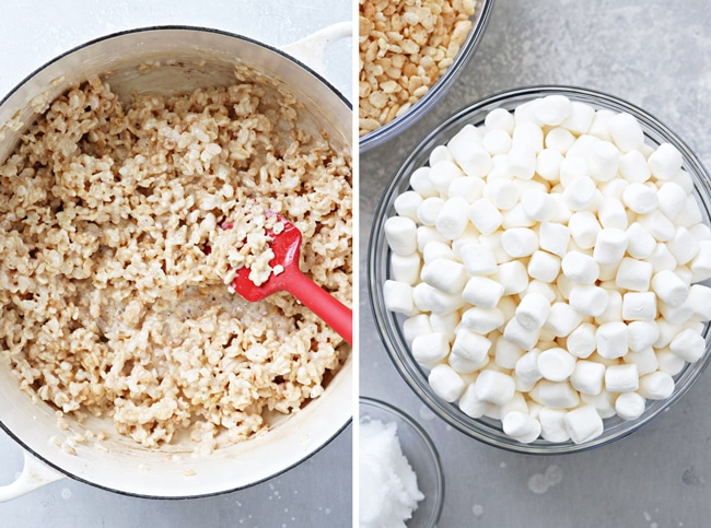Marshmallows and rice cereal in a pot and then in small bowls.