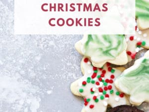 Dairy Free Christmas Cookies on a grey background with text overlay.