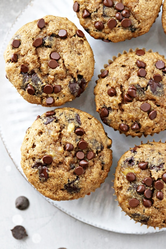 No Milk Banana Chocolate Chip Muffins on a white plate.