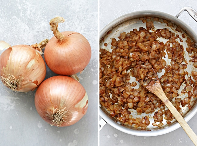 Three whole onions and then caramelized onions in a skillet.
