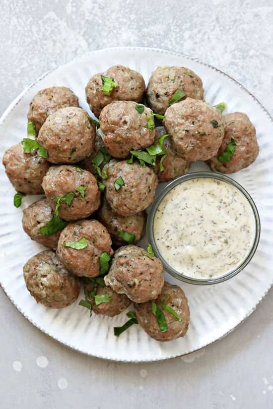 A white plate filled with Dairy Free Turkey Meatballs.