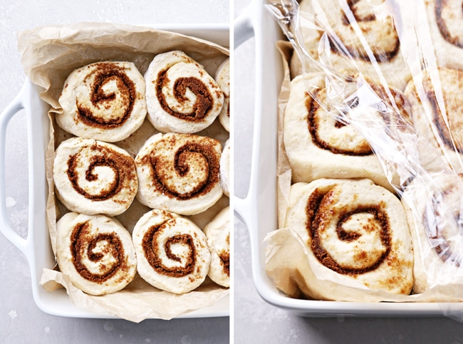 Sliced cinnamon rolls before and after proofing.