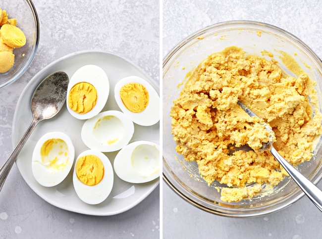 Sliced hard boiled eggs and then mashed yolks in a bowl.