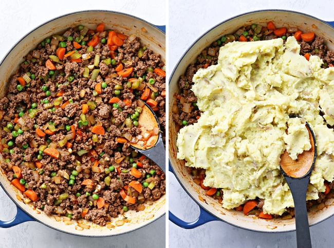 Meat and veggies in a skillet and then topped with mashed potatoes.