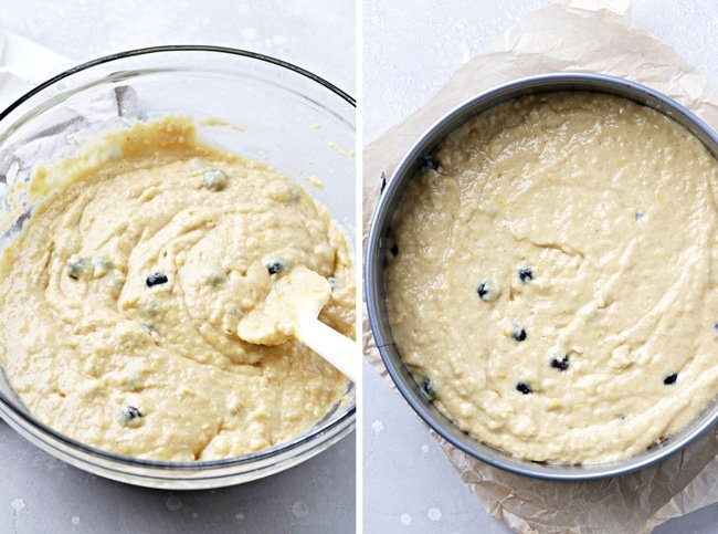 Cake batter in a bowl and then in a baking pan.
