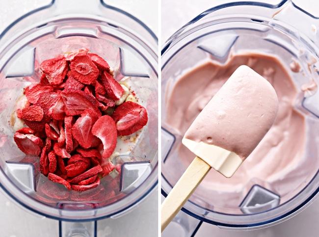 Unblended and then blended fruit dip in a blender.