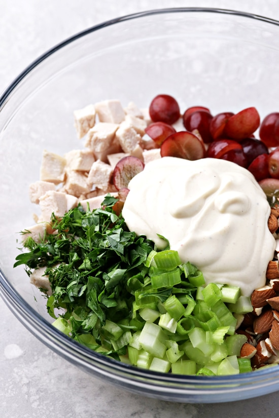 Ingredients for Non Dairy Chicken Salad in a large mixing bowl.
