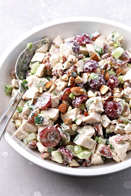 Gluten Free Dairy Free Chicken Salad in a white bowl.