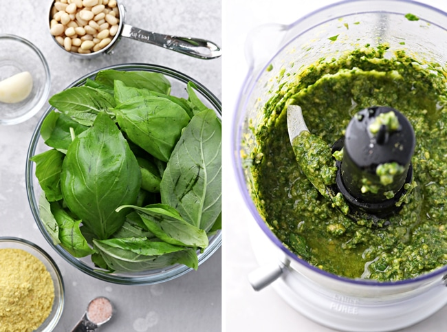 Ingredients for No Cheese Pesto in bowls and then combined in a food processor.