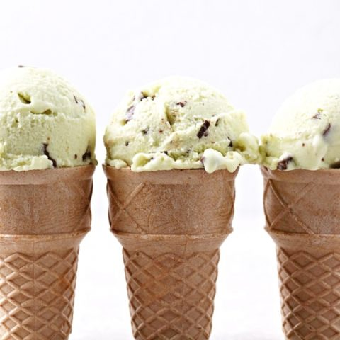 Three ice cream cones with Dairy Free Mint Chocolate Chip Ice Cream.