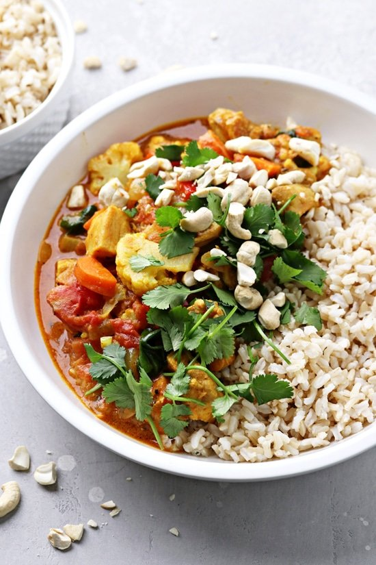 A bowl filled with Dairy Free Chicken Curry.