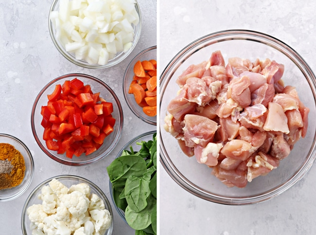 Small bowls filled with chopped veggies and chicken thighs.