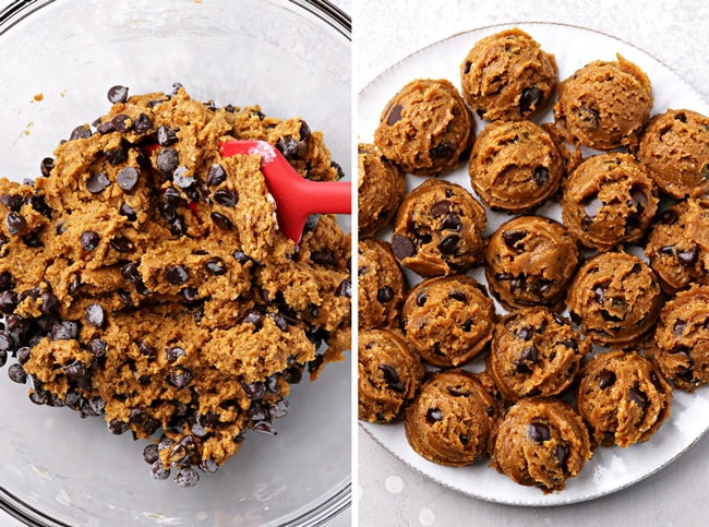 Cookie dough in a mixing bowl and then cookie dough balls on a plate.