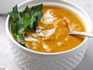 Two bowls of Dairy Free Pumpkin Soup.