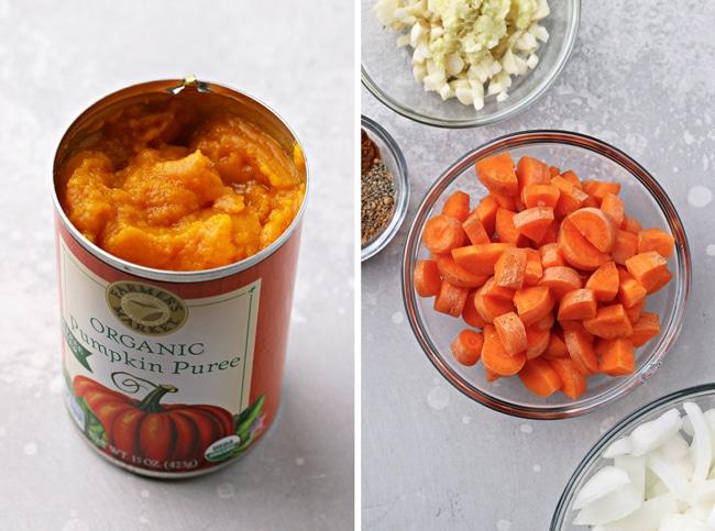 A can of pumpkin puree plus chopped veggies in bowls.