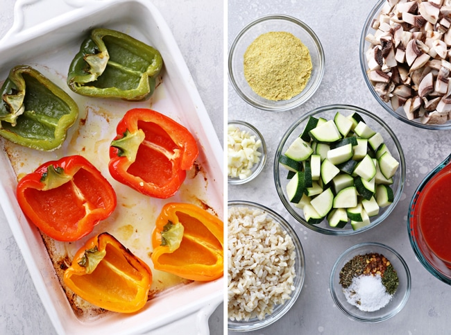 Partially cooked bell peppers and then chopped veggies in bowls.